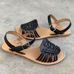 SODA Black Women's Strap Huarache Sandals
